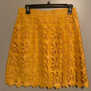 LOFT mustard skirt, large lace